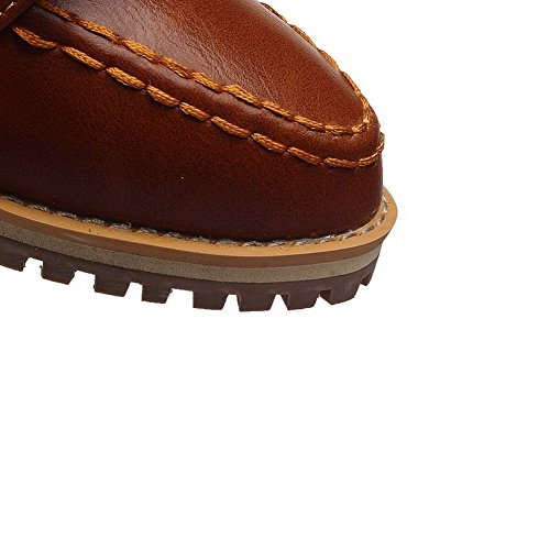 VogueZone009 Femme Pu Cuir à Talon Bas Pointu Couleur Unie Tire Chaussures Légeres Brun