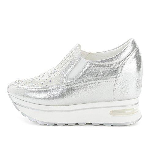 Damen Modische Sommer Schnürhalbschuhe Unsichtbar Erhähung Einfach Klettverschluss Leichtgewicht Rundzehen Flache Sneakers Silber