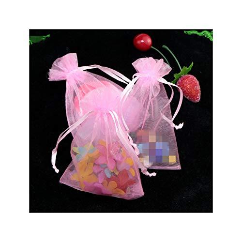10Pcs Geschenk-Beutel Schmuck Verpackung Organzabeutel Beutel Schmuck-Verpackungs-Beutel-Geburtstags-Party-Dekorationen Supplies, D9 Rosa, 9x12cm Organza Taschen