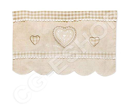 Confezioni.giuliana mantovana per finestra tirolese bianco ecru' lino 60x40 anna beige