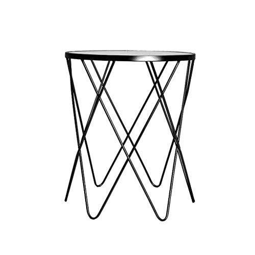 Gold-finish Klar Glas (LILISHANGPU Beistelltisch Modernität der nordischen Schlichtheit, runder Tisch, Glas/Satin-Gold-Finish, klarer Tisch/Chromgestell (Color : Black, Size : L50CMXW50CMXH60CM))