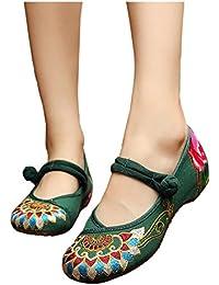 Fanwer Bordado de La Lona de Las Mujeres Tótem de Budismo Suela Suave Mary Janes Zapatos de Baile