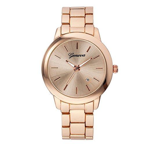 XLORDX Geneva Designer Strass Datum Damenuhr Uhr Chronograph Optik Rosegold Strassuhr Blogger Bloggeruhr