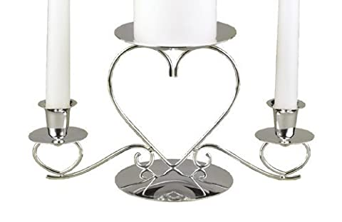 Hortense B. Hewitt Wedding Accessories, Unity Candle Stand, Triple Heart, Silver, 10.5-Inches x 5.5-Inches by Sourced