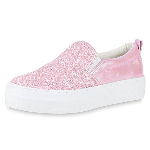 Damen Sneakers Sneaker Slip-Ons Plateau Slipper Plateau Strass Neon Blumen Flats Animal Prints Freizeit Schuhe 119019 Rot 38 Flandell KcuY8