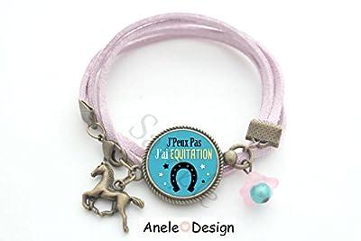 Bracelet équitation Cheval - bleu rose fer à cheval perles romantique Matériaux utilisés: Laiton, Verre