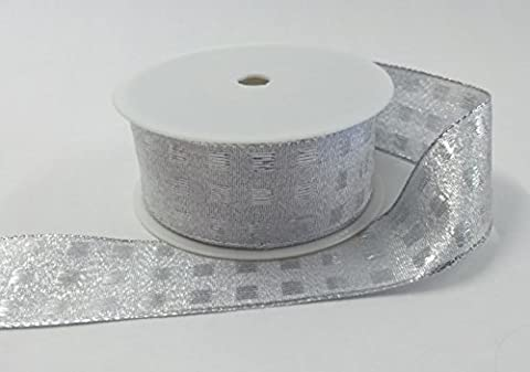 BEST Wired Silver Lurex ribbon with square pattern 40mm x 20 Mtr roll, beautiful ribbon, ideal for gift wrapping presents, tree decoration, making cards, general decoration, celebrations, parties, arts and crafts. Fast service, quick delivery, great quality, good value for