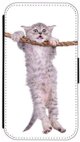 Kuna Flip Cover für Apple iPhone 5 / 5s Design K450 Baby Katze Hülle aus Kunst-Leder Handy Tasche Etui mit Kreditkartenfächern Schutzhülle Case Wallet Buchflip Rückseite Schwarz Vorderseite Bedruckt m K447