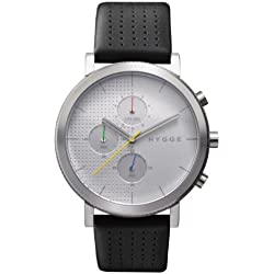 Hygge 2204 Unisex Quartz Watch with Silver Dial Chronograph Display and Black Leather Strap MSL2204C(CH)