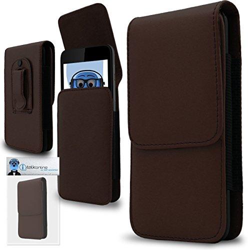 iTALKonline Braun Premium PU-Leder Vertikale Exekutive Seitentasche Kofferabdeckung Gürtelschlaufe Clip und Magnetverschluss für Motorola Moto X