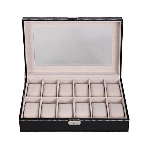 Uhrenkoffer Uhrenbox Uhrkasten Uhren Schatulle Aufbewahrungsbox mit Sichtfenster Präsentation Organizer Größen zur Wahl (Für 12 Uhren)