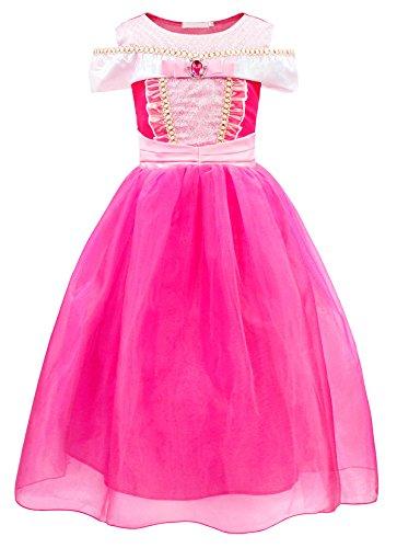 AmzBarley Prinzessin Aurora Kostüm Kleid Kinder Mädchen Schlafende Schönheit Verkleidung Schick Party Kleider Halloween Karneval Cosplay Geburtstag Festzug Ankleiden Kleidung Krone Zauberstab (Aurora Kostüm Kleid)