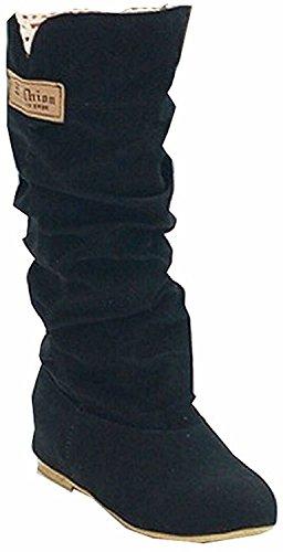 Minetom Damen Herbst Winter Elegant Beiläufig Flache Schuhe Knie Stiefel Slouchy Schneestiefel Süß Lange Stiefel (EU 41, Schwarz)