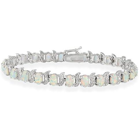 Sterling Argento Creato Opale Bianco Pietra e diamante Accent s e ovale Bracciale (Accent Diamante Bracciale)