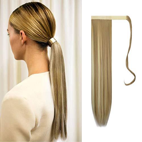 Feshfen, extension coda di cavallo lunga 61 cm, con lungo nastro per l'applicazione, parrucca di capelli sintetici lisci per donna, 130g