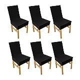 Ebeta 6 x Housse de Chaise élastique Couvertures pour chaises, Extensible pour Décoration de Chaise, Universelle Stretch-Housse Couverture de chaise pour la décoration de mariage à domicile (Noir)