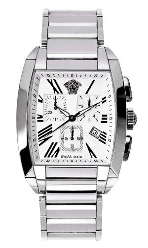 Versace WLC99D001 S099 - Reloj cronógrafo de cuarzo para hombre con correa de acero inoxidable, color plateado