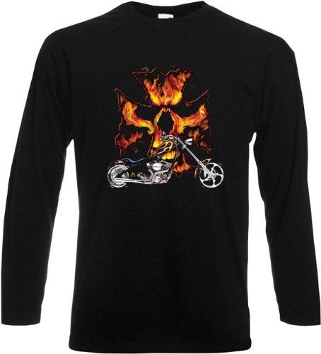 Langarm T-Shirt Bike Flames Schwarz