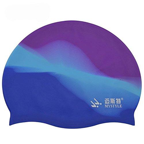 ELEOPTION Damen und Herren Badekappen farblich Schwimmen Kappe Badehaube Silikon Sporthaube schwimmkappe (Lila+Blau)