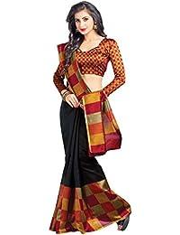 Miraan Women's Kora Silk Saree With Blouse Piece (Srh8108,Black,Free Size)