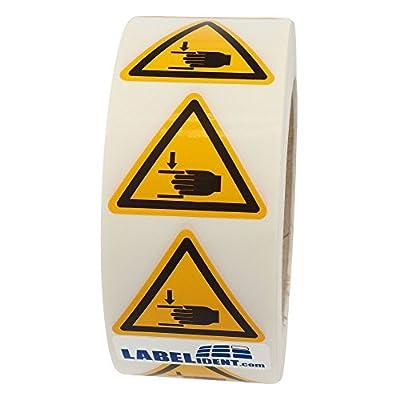 Warnzeichen W024 - Warnung Handverletzungen - Seitenlänge 50 mm - 1000 Warnschilder aus Vinyl Folie, gelb, permanent haftend