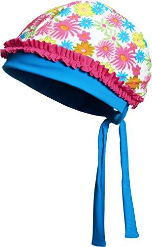 Playshoes Mädchen Mütze Kopftuch Bademütze Blumenmeer mit UV-Schutz, Mehrfarbig (Pink 18), Small (Herstellergröße: 51cm)