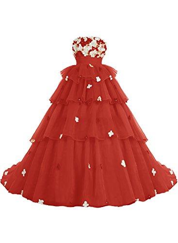 Bbonlinedress Robe de cérémonie fleurie forme marquise sans bretelles Rouge