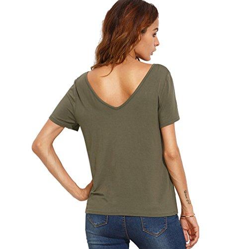 Maglietta Maniche Corte Donna - Landove T Shirt Ampio V-collo Manica Corta Estive Tops Maglietta Spalle Scoperte Blusa Sexy Elegante Casual Verde