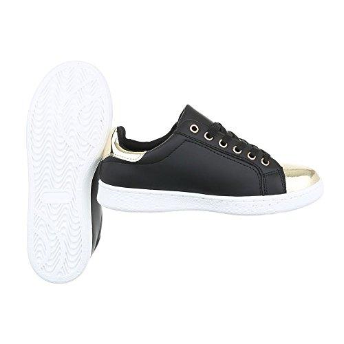 Freizeitschuhe Ital Damenschuhe Schwarz 23 Schnürsenkel Sneakers Sneaker top 2018 design Low n0xCqOB