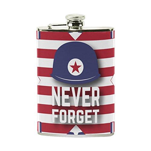 Tizorax Happy Memorial Jour n'oubliez jamais patriotique en acier inoxydable Flasque, poche Pichet, le camping, Pot de vin, cadeau pour homme ou femme, 226,8gram