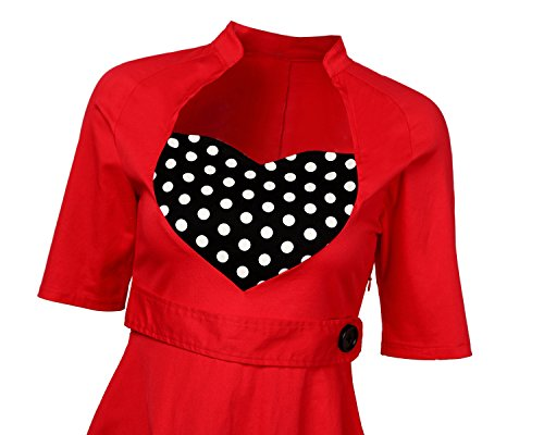 MISSMAO Dame Robe Vintage années 1950's Style Audrey Hepburn Rockabilly Swing Rétro Gracieux Robe de Soirée Coton Rouge