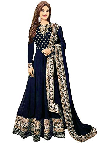 Ruri Enterprise Blue New Semi Stitched Embroidered Heavy Work Anarkali Suits for Women for Party Wedding Wear Anarkali Suits/Salwar Suits (Blue)