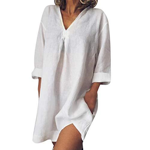 Whycat Baumwolle leinen Dress Sale Frauen Sommer lose beiläufige Reine Farbe langärmelige v-Ausschnitt sexy Party Dress(Weiß,S