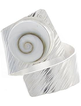 Bella Carina Damen Ring mit Shiva Auge breit, verstellbar 2 Varianten, 925 Sterling Silber (Typ A)