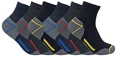 Sock Snob 3, 6, 12 paia uomo calzini/calze lavoro cotone corti quarter corte rinforzate spugna tacco e punta (45-49 eur, 6 pairs (short))