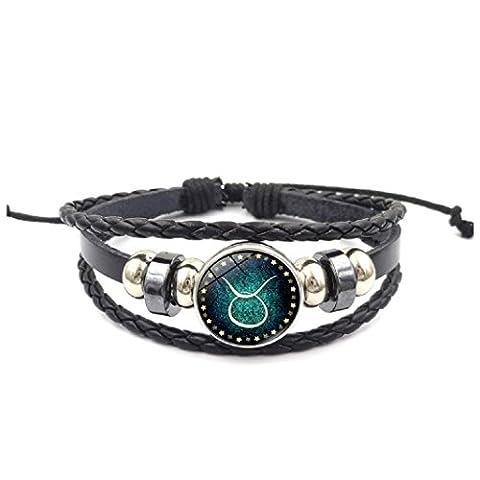 Axibi Mode Femme Hommes 12 Constellations Bracelet en cuir perlé tissé Pendentif Bijoux Cadeaux (Taurus)