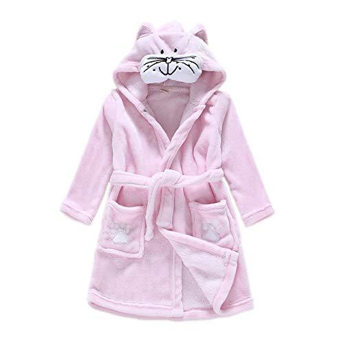 DarkCom Unisex Kinder Bademantel mit Kapuze Cosplay Kostüme Tiere Ankleiden Robe Für Mädchen und Jungen (140 (Suggest Höhe: 130 CM-140 cm), Katze)