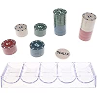 Baoblaze Bandeja de Almacenamiento Color Claro + 100x Fichas de Poker para Juegos de Mesa Casino