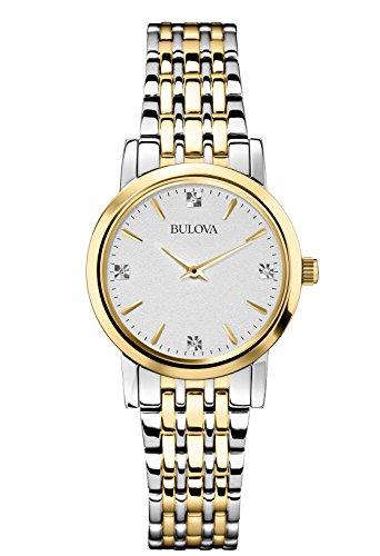 Bulova Diamond Reloj de Cuarzo para Mujer con Plata Esfera analógica Pantalla y Pulsera...