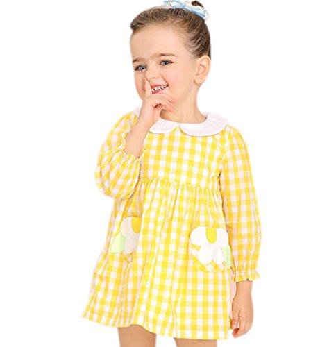 Surenow Vestito da Bambina in Cotone Disegno a Scacchi Vestiti