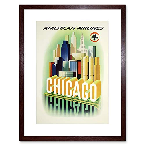 TRAVEL AMERICAN AIRLINES CHICAGO WINDY CITY VINTAGE ADVERT ART PRINT B12X1425 (Chicago City Windy)