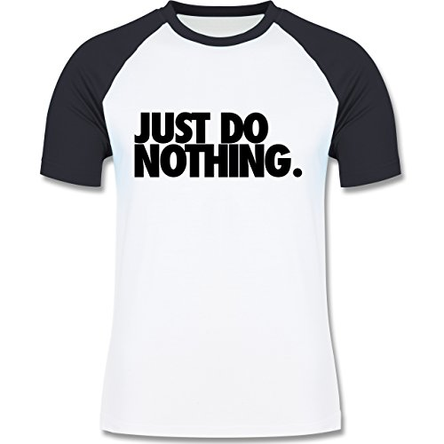 Statement Shirts - Just do nothing. - zweifarbiges Baseballshirt für Männer Weiß/Navy Blau