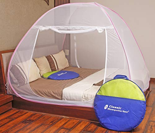 Classic Mosquito Net - Foldable, King Size Double Bed With Saviours - (Pink) Image 3