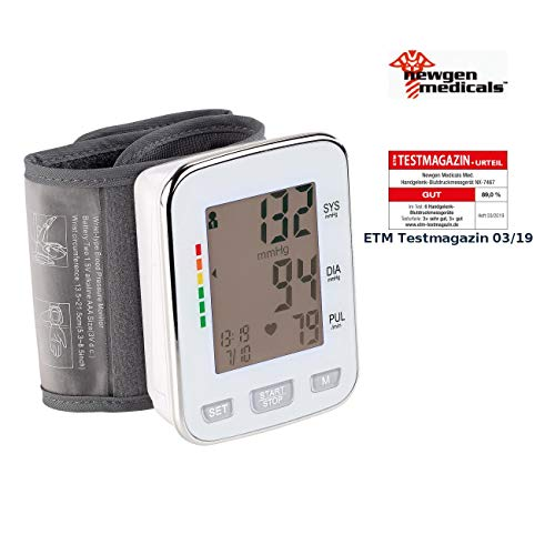 newgen medicals Blutdruckmesser: Med. Handgelenk-Blutdruckmessgerät, XL-Display, 2x 60 Speicherplätze (Blutdruckgeräte)