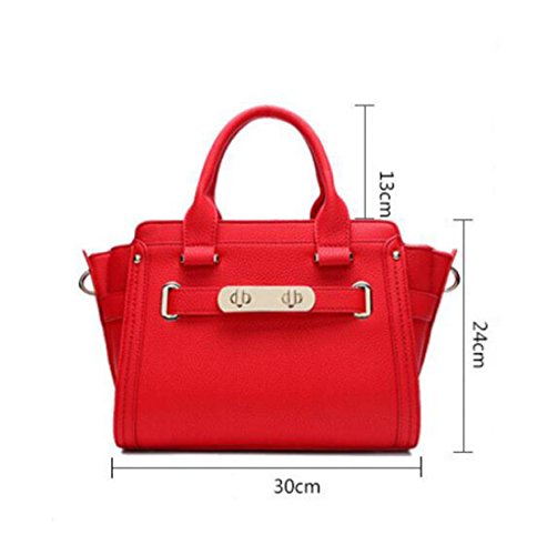 Damen Leder Mode Litchi Muster Platin Tasche Handtasche Messenger Bag Schulter Tasche Casual Wild Elegant Red