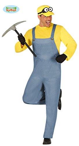 Minenarbeiter Kostüm für Herren Bergarbeiter Bergbau Batterie Lustiger Handwerker Gr. M-XL, Größe:L (Für Minion-overall Erwachsene)