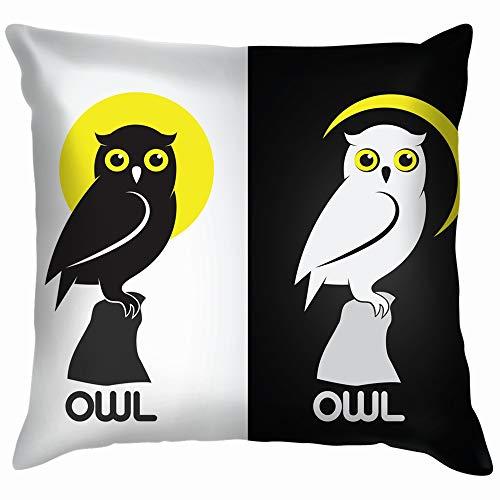 beautiful& Image Owl Design On White Animals Wildlife Nature Soft Cotton Linen Cushion Cover Pillowcases Throw Pillow Decor Pillow Case Home Decor 18X18 Inch