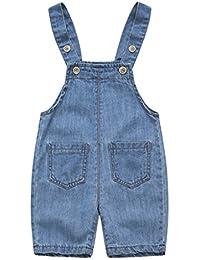 Salopette Corta Bambino - Jeans Tuta Blu Denim Ragazze Ragazzi Pantaloni  Salopette Denim c49d9da473fb