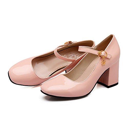 AgooLar Femme Rond à Talon Correct Boucle Couleur Unie Chaussures Légeres Rose