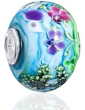MATERIA Original 925 Silber Murano Beads Blumen Sommer Element türkis / blau aus edlem Muranoglas 12x15mm #1433